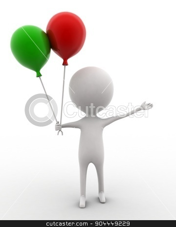 3d man holding balloon in hands concept  stock photo, 3d man holding balloon in hands concept on white isolated background , front angle view  by 3dlabs