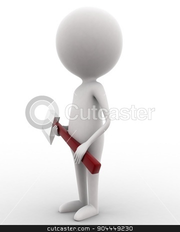 3d man holding axe in hands concept  stock photo, 3d man holding axe in hands concept on white isolated background , side angle view  by 3dlabs