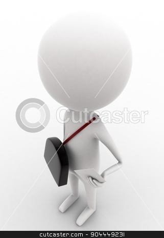 3d man - post master holding letter in hands concept  stock photo, 3d man - post master holding letter in hands concept on white isolated background , top angle view  by 3dlabs