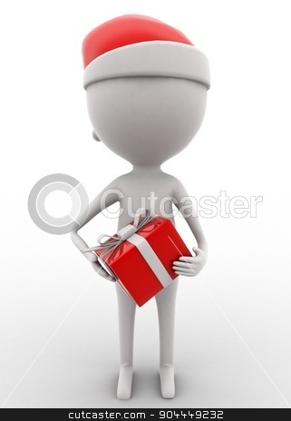 3d man holding xmas gift on hands concept  stock photo, 3d man holding xmas gift on hands concept on white isolated background , front angle view  by 3dlabs