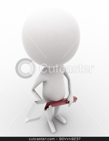 3d man holding axe in hands concept  stock photo, 3d man holding axe in hands concept on white isolated background , top angle view  by 3dlabs