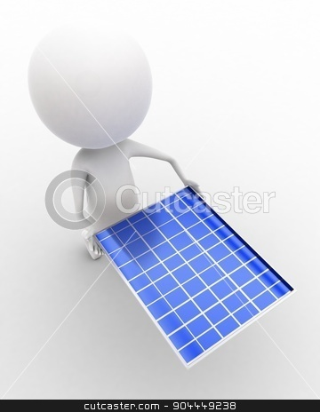 3d man carrying solar panel in hands concept  stock photo, 3d man carrying solar panel in hands concept executed in white isolated background , top angle view  by 3dlabs