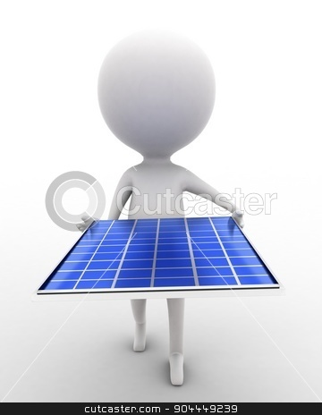 3d man carrying solar panel in hands concept  stock photo, 3d man carrying solar panel in hands concept executed in white isolated background , front angle view  by 3dlabs
