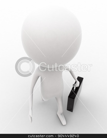 3d man walking and holding briefcase concept  stock photo, 3d man walking and holding briefcase concept on white isolated background , top angle view  by 3dlabs
