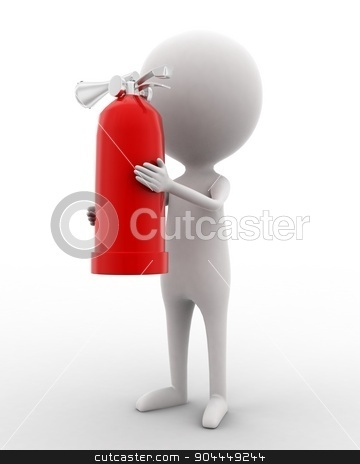 3d man holding fire extinguisher concept  stock photo, 3d man holding fire extinguisher concept on white isolated background ,side angle view  by 3dlabs
