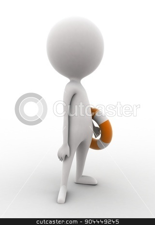 3d man holding safety folating tube concept  stock photo, 3d man holding safety folating tube concept on white isolated background , side angle view  by 3dlabs