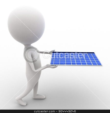 3d man carrying solar panel in hands concept  stock photo, 3d man carrying solar panel in hands concept executed in white isolated background , side angle view  by 3dlabs