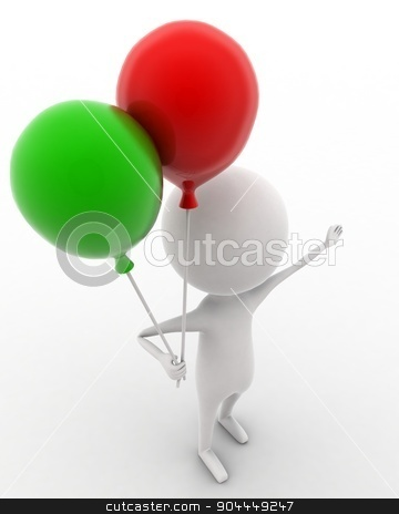3d man holding balloon in hands concept  stock photo, 3d man holding balloon in hands concept on white isolated background , top angle view  by 3dlabs