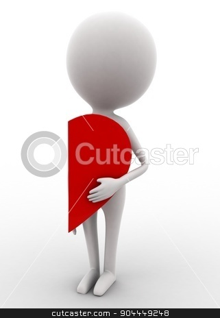 3d man holding half heart concept  stock photo, 3d man holding half heart concept on white isolated background , front angle view  by 3dlabs