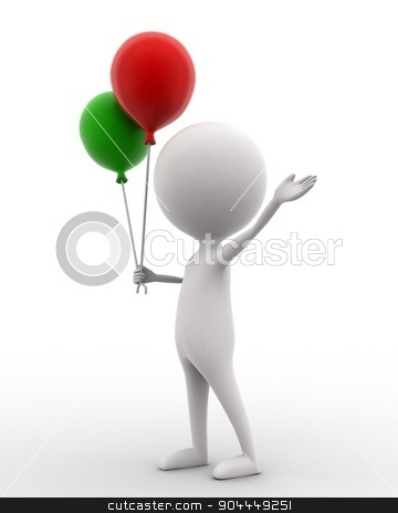 3d man holding balloon in hands concept  stock photo, 3d man holding balloon in hands concept on white isolated background , side angle view  by 3dlabs