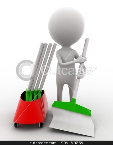 3d man cleaning floor with brush concept  stock photo, 3d man cleaning floor with brush concept on white isolated background , front angle view  by 3dlabs