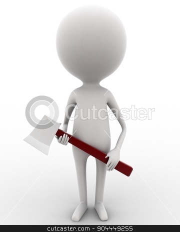 3d man holding axe in hands concept  stock photo, 3d man holding axe in hands concept on white isolated background , front angle view  by 3dlabs