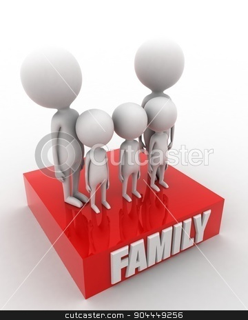 3d man - family union concept  stock photo, 3d man - family union concept on white isolated background ,  top angle view  by 3dlabs