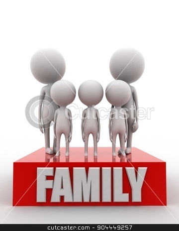 3d man - family union concept  stock photo, 3d man - family union concept on white isolated background , front angle view  by 3dlabs