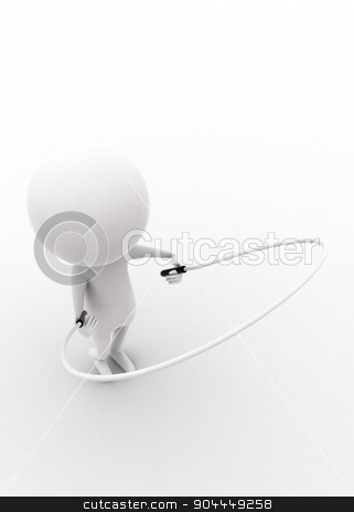 3d man exercising with rope concept  stock photo, 3d man exercising with rope concept on white isolated background , top angle view  by 3dlabs