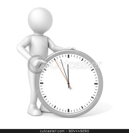 man and clock stock photo, An image of a rendered white man pointing to a clock by Markus Gann