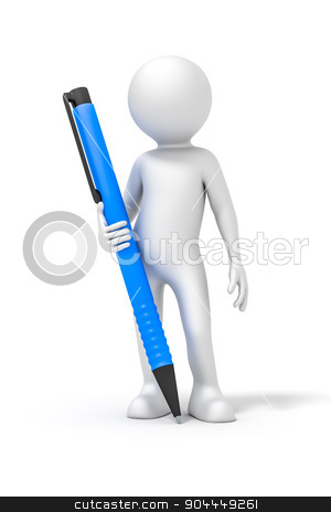 man with a ball pen stock photo, An image of a white rendered man with a ball pen by Markus Gann