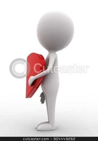 3d man holding half heart concept  stock photo, 3d man holding half heart concept on white isolated background , side angle view  by 3dlabs