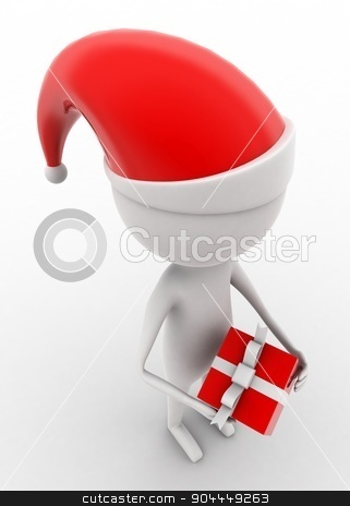 3d man holding xmas gift on hands concept  stock photo, 3d man holding xmas gift on hands concept on white isolated background , top angle view  by 3dlabs