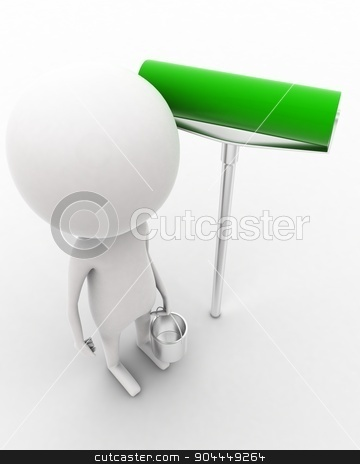 3d man holding paint can in hands and a paint roller near by concept  stock photo, 3d man holding paint can in hands and a paint roller near by concept on white isolated background , top angle view  by 3dlabs