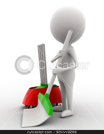 3d man cleaning floor with brush concept  stock photo, 3d man cleaning floor with brush concept on white isolated background , side angle view  by 3dlabs
