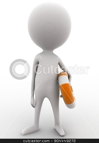 3d man holding safety folating tube concept  stock photo, 3d man holding safety folating tube concept on white isolated background , front angle view  by 3dlabs