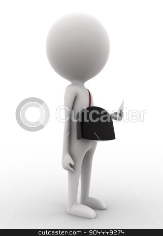 3d man - post master holding letter in hands concept  stock photo, 3d man - post master holding letter in hands concept on white isolated background , side angle view  by 3dlabs