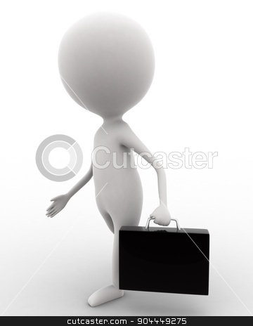 3d man walking and holding briefcase concept  stock photo, 3d man walking and holding briefcase concept on white isolated background , side angle view  by 3dlabs