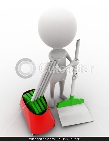 3d man cleaning floor with brush concept  stock photo, 3d man cleaning floor with brush concept on white isolated background , top angle view  by 3dlabs