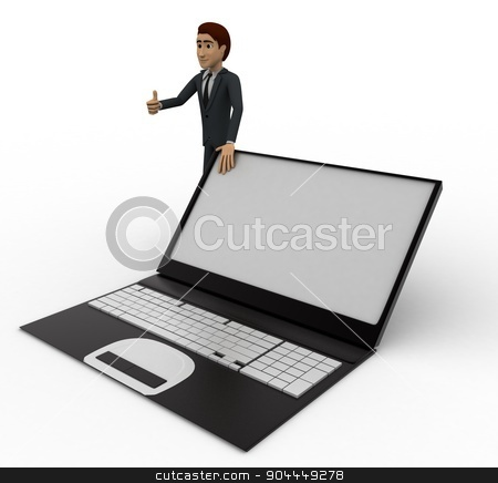 3d man standing with laptop concept stock photo, 3d man standing with laptop concept on white background,  side  angle view by 3dlabs