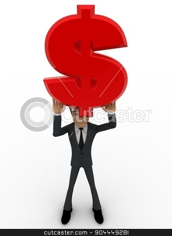 3d man holding red dollar sign in hand concept stock photo, 3d man holding red dollar sign in hand concept on white background, front angle view by 3dlabs