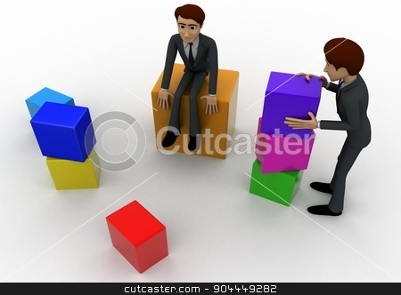 3d men with colourful blocks concept stock photo, 3d men with colourful blocks concept on white background,  side angle view by 3dlabs