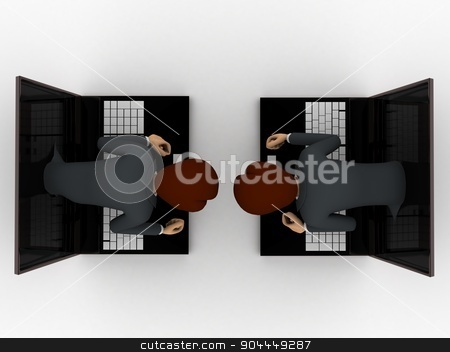 3d man coming through laptop screen concept stock photo, 3d man coming through laptop screen concept on white background, top angle view by 3dlabs