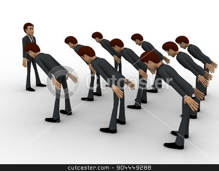 3d men leaning to boss with respect concept stock photo, 3d men leaning to boss with respect concept on white background,  side angle view by 3dlabs