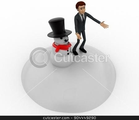 3d man standing aside snowman concept stock photo, 3d man standing aside snowman concept on white background,  top angle view by 3dlabs