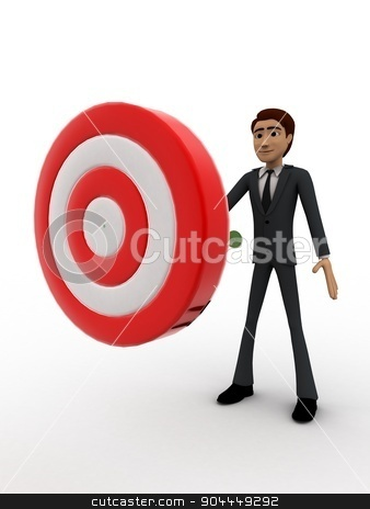 3d man putting dart on target board concept stock photo, 3d man putting dart on target board concept on white background, side angle view by 3dlabs
