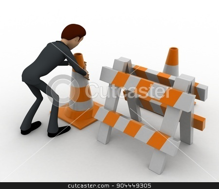 3d man with traffic cones and hurdle concept stock photo, 3d man with traffic cones and hurdle concept on white background, back angle view by 3dlabs