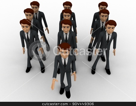 3d man marching concept stock photo, 3d man marching concept on white background, front angle view by 3dlabs