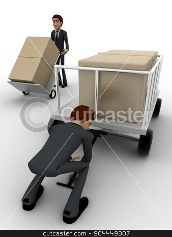 3d man pulling trolly loaded with boxes concept stock photo, 3d man pulling trolly loaded with boxes concept on white background, front angle view by 3dlabs