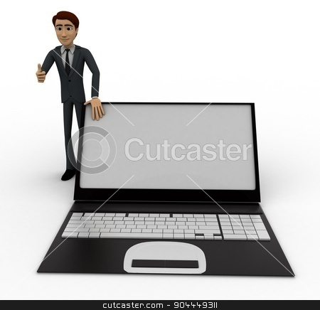 3d man standing with laptop concept stock photo, 3d man standing with laptop concept on white background, front angle view by 3dlabs