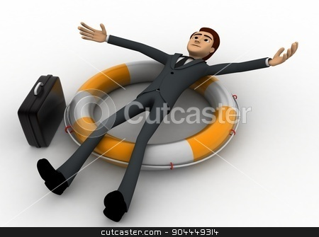 3d man laying over swimming tube concept stock photo, 3d man laying over swimming tube concept on white background, front angle view by 3dlabs