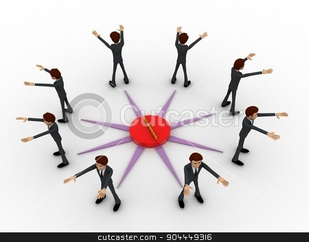 3d man represent direction to all side of compass concept stock photo, 3d man represent direction to all side of compass concept on white background, top angle view by 3dlabs