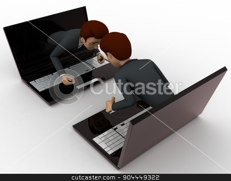 3d man coming through laptop screen concept stock photo, 3d man coming through laptop screen concept on white background, front angle view by 3dlabs
