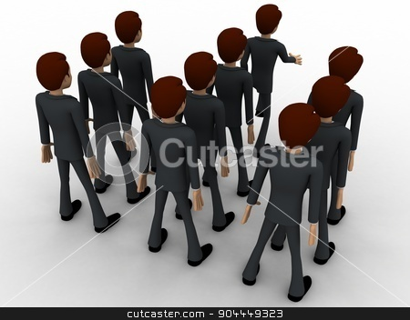 3d man marching concept stock photo, 3d man marching concept on white background, back angle view by 3dlabs