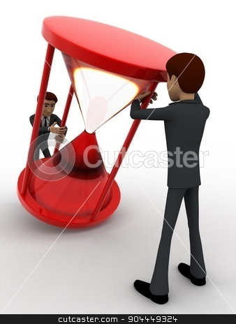 3d two men pull sand clock concept stock photo, 3d two men pull sand clock concept on white background, front angle view by 3dlabs