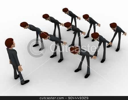 3d men leaning to boss with respect concept stock photo, 3d men leaning to boss with respect concept on white background, top angle view by 3dlabs