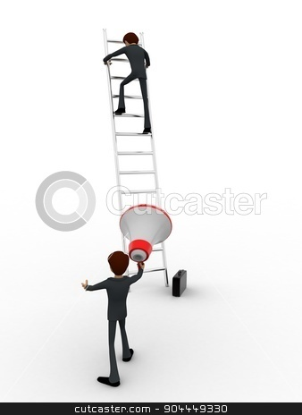 3d men climbing ladder and another announcing from mic concept stock photo, 3d men climbing ladder and another announcing from mic concept on white background, back angle view by 3dlabs