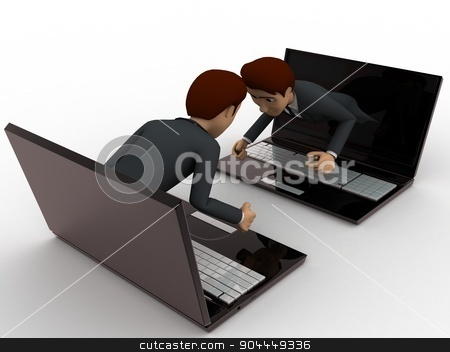 3d man coming through laptop screen concept stock photo, 3d man coming through laptop screen concept on white background, side angle view by 3dlabs