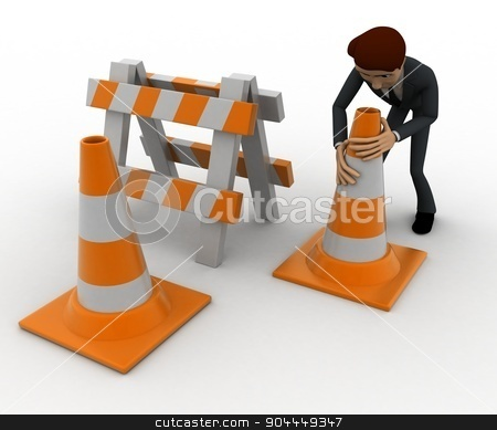 3d man with traffic cones and hurdle concept stock photo, 3d man with traffic cones and hurdle concept on white background, side angle view by 3dlabs