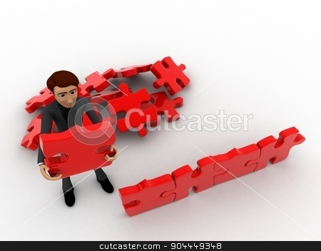 3d man creating wall with jigsaw puzzle pieces concept stock photo, 3d man creating wall with jigsaw puzzle pieces concept on white background, top angle view by 3dlabs